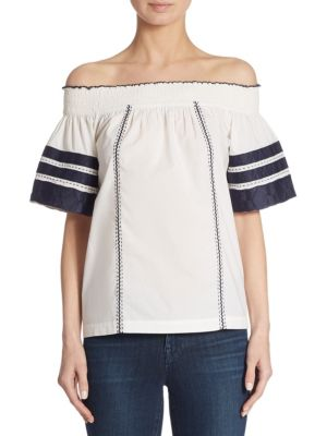 Buy Tory Burch Portia Embroidered Off-the-Shoulder Top online with Australia wide shipping