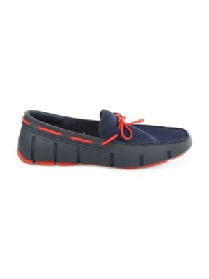 SWIMS Mesh & Rubber Braided-Lace Boat Shoes, Navy/Red Lacquer