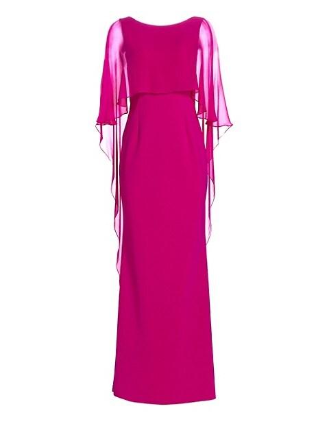 Scuba Gown Chiffon Overlay Dress