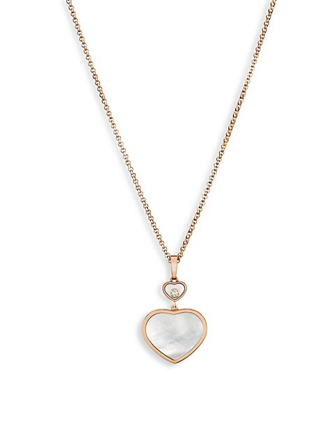 Happy Hearts 18K Rose Gold, Diamond & Mother-Of-Pearl Pendant Necklace