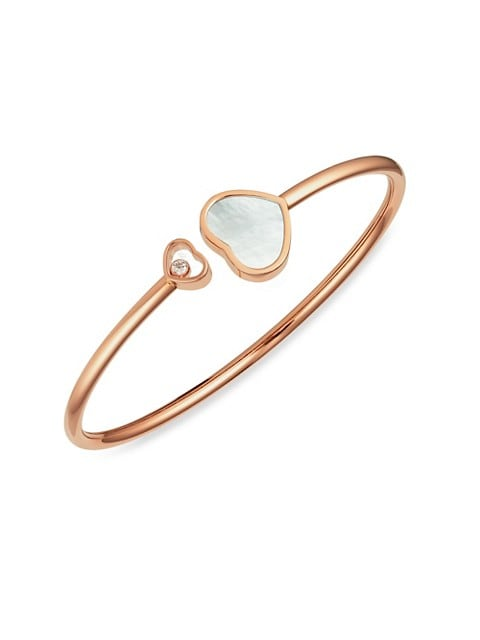 Happy Hearts 18K Rose Gold, Diamond & Mother-Of-Pearl Bangle