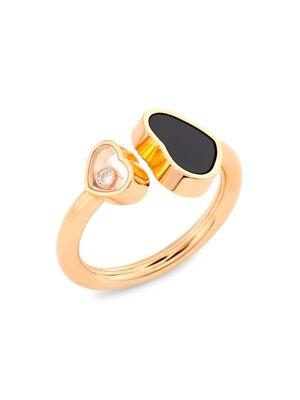 Chopard Happy Hearts 18K Rose Gold, Diamond & Black Onyx Ring