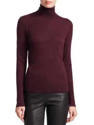 Collection Cashmere Turtleneck Sweater, Dark Plum