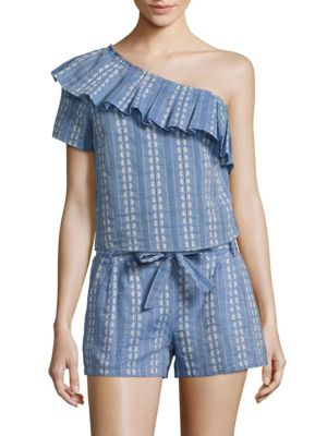One-Shoulder Chambray Jacquard Top by Splendid