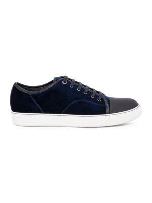 LANVIN Men'S Velvet Cap-Toe Low-Top Sneakers, Dark Blue
