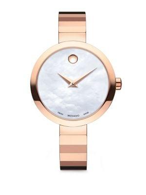 Movado Novella Round Case Stainless Steel Bracelet Quartz Analog Watch In Rose Gold