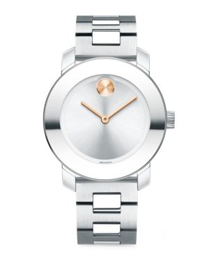 MOVADO Bold Analog Stainless Steel Bracelet Watch in Silver/ Rose Gold