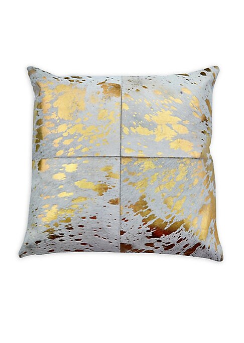 "Image of Striking calf hair pillow with metallic-stenciled design.20"" x 20"".Lining: Cotton. Fill: Down/feather. Zippered pillow cover. Fur type: Natural calf hair. Fur origin: India. Dry clean by fur specialist. Imported."