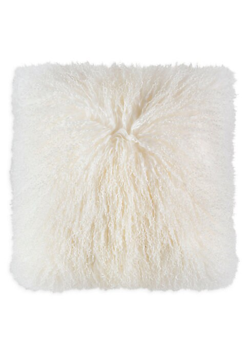 "Image of This plush Tibetan fur pillow adds luxury and comfort to any space.20""W x 20""H.Cotton lining. Fill: Down/feather. Fur type: Dyed Mongolian Tibetan lamb. Fur origin: India. Dry clean. Imported."