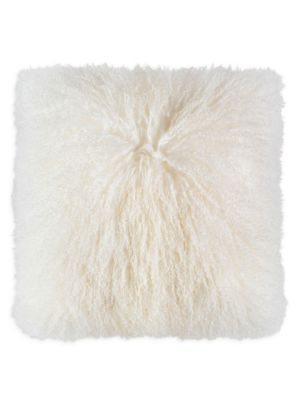 """Image of This plush Tibetan fur pillow adds luxury and comfort to any space.20""""W x 20""""H.Cotton lining. Fill: Down/feather. Fur type: Dyed Mongolian Tibetan lamb. Fur origin: India. Dry clean. Imported."""