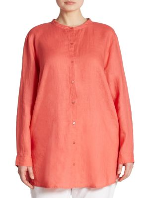 Organic Linen Shirt by Eileen Fisher, Plus Size