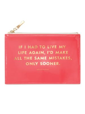 """Image of All your pencils and writing accessories will be in safe hands with this pouch that is secured by a zipper and displays a Tallulah Bankhead quote in a shiny tone. Set includes: two pencils, a pencil sharpener, an eraser, and a ruler.8.5""""W x 5.5""""H.Syntheti"""