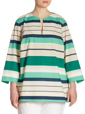 Moria Striped Blouse by Lafayette 148 New York, Plus Size