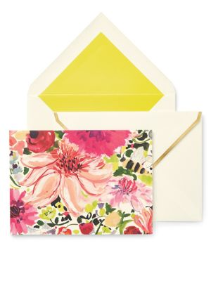 """Image of Send heartfelt messages to your dear ones with this notecard designed with vivacious dahlia prints. Includes 10 folded cards and 10 lined envelopes.4.25""""W x 5.75""""H x 1""""D.Cardstock/woodfree paper. Imported."""