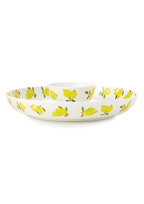 """Image of This citrus-themed chip and dip set is an elegant tableware addition while you entertain your guests.15.1"""" x 15.1"""" x 17.5"""".Melamine. Imported."""