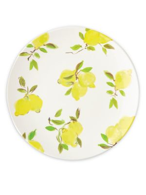 """Image of Serve dinner in this elegant dinner plate boasting of a chip and crack-free construction. It is updated with refreshing lemon prints for added allure.12"""" x 9"""" x 12.4"""".Melamine. Dishwasher safe. Imported."""