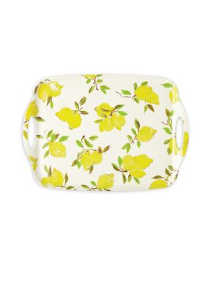 "Image of Perfect for entertaining guests at home as well as outdoors, this lemon-themed melamine tray adds fresh flavor to party flair. .Diameter, 19.5"".Melamine. Imported."