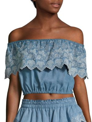 Tori Off-the-Shoulder Crop Top by LOVESHACKFANCY