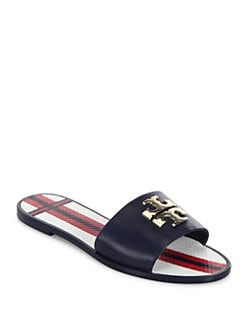 5a7769b63ea Tory Burch Logo Leather Jelly Slides from Saks Fifth Avenue - Styhunt