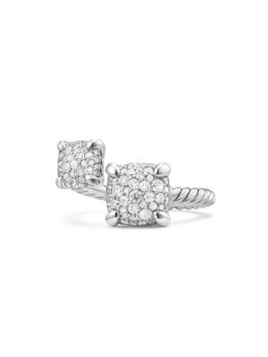David Yurman Ch Telaine Bypass Silver Diamond Ring