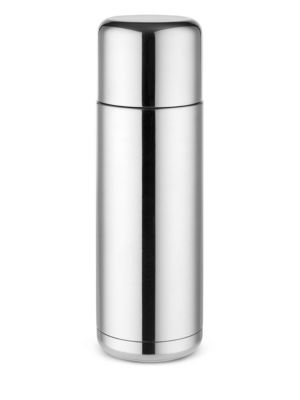 "Image of A polished thermos flask featuring a removable lid. .2.5""W x 8"" H. .18/10 stainless steel/thermoplastic resin. .Hand wash. .Imported. ."