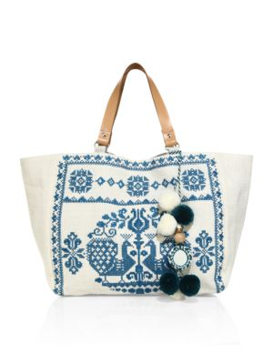 STAR MELA Palma Embroidered Tote in Ivory Petrol