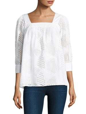 Three-Quarter Sleeve Cotton Eyelet Top by MILLY