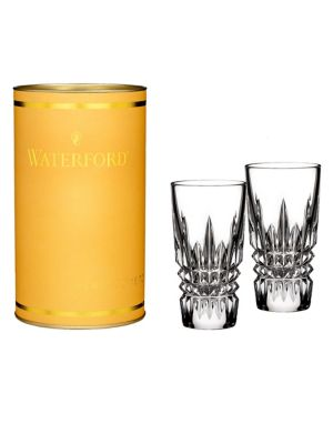 """Image of .A pair of crystal shot glasses with a diamond-like design. .2 oz. .3.5"""" X 1.9"""". .Crystal. .Hand wash. .Imported. ."""