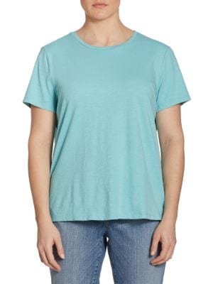 Slub Organic Cotton Jersey Tee by Eileen Fisher, Plus Size