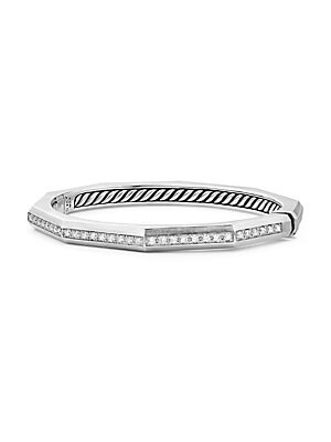 """Image of From the Stax Collection Channel-set diamonds, 0.81 tcw Sterling silver Width, about 0.22"""" Hinge clasp Imported. David Yurman - David Yurman Silver Ice. David Yurman. Color: Silver. Size: M."""
