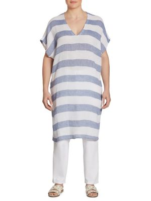 Long Striped Linen Tunic by Eileen Fisher, Plus Size
