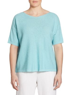 """Image of Textured knit top crafted in a boxy silhouette. Ribbed boatneck. Dropped shoulders. Short sleeves with ribbed cuffs. Pullover style. Ribbed hem. About 23"""" from shoulder to hem. Organic linen/organic cotton. Hand wash. Imported."""