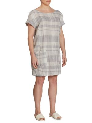 Image of Plus Plaid Organic Linen and Organic Cotton Dress