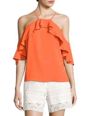 Olan 2 Ruffled Cold-Shoulder Top by Trina Turk