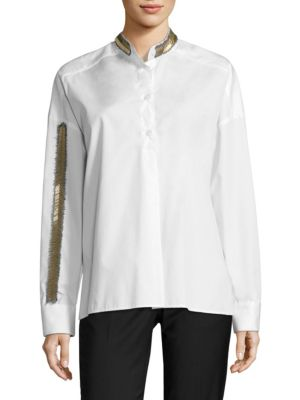 Beaded Cotton Poplin Shirt by EACH X OTHER