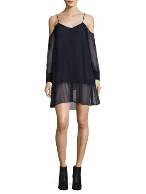 Silk Mousseline Cold-Shoulder Dress by EACH X OTHER