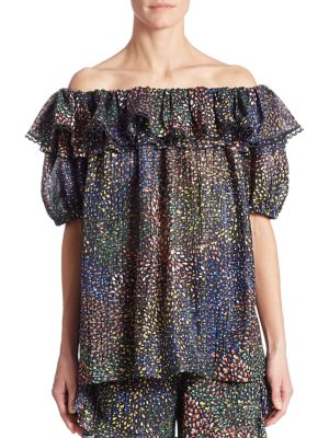 Ruffled Off-The-Shoulder Lurex Blouse by