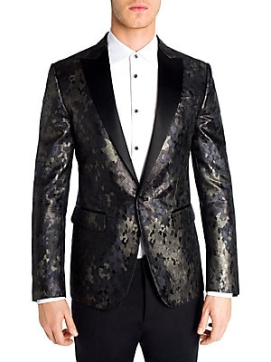 Image of From the Saks IT LIST THE JACKET The wear everywhere layer that instantly dresses you up. Italian made jacket boasts polished camouflage Peaked lapels Long sleeves with button cuffs Front one-button closure Chest welt pocket Waist flap pockets Double-vent