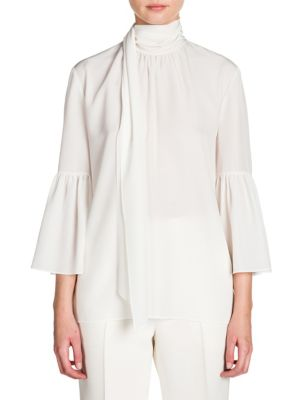 Scarf-Detail Crepe De Chine Bell Sleeve Blouse by Fendi
