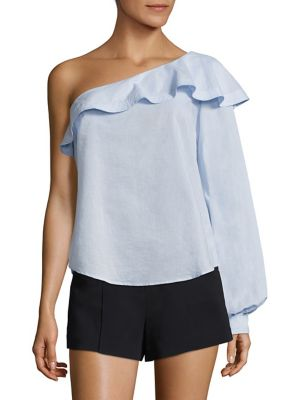 "Image of Bishop sleeve frames ruffled one-shoulder top. Ruffled one-shoulder neckline. Long bishop sleeve. Button cuff. Pullover style. About 24"" from shoulder to hem. Cotton. Dry clean. Imported of Italian fabric. Model shown is 5'10"" (177cm) wearing US size 4."