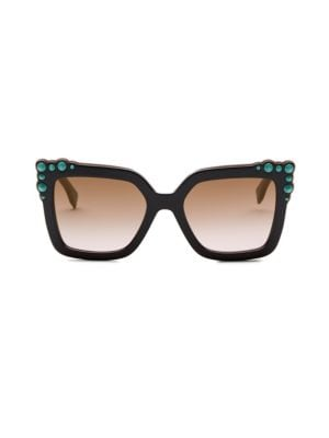 Can Eye Two-Tone Studded Square Sunglasses in Black/Pink