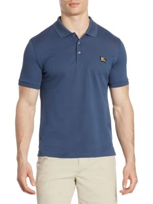 "Image of Signature logo print embroidery highlights this polo. Polo collar. Short sleeves. Ribbed cuffs. Three-button placket. About 28"" from shoulder to hem. Cotton/Metal. Machine wash. Imported."