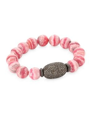 "Image of Agate diamond beaded bracelet with feature pave diamond link. Diamonds, 4.22'.Rhodium-plated sterling silver. Pink agate beads. Diameter, 2.25"".Slip-on stretch style. Imported."