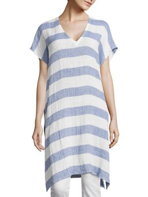 Long Striped Linen Tunic by Eileen Fisher