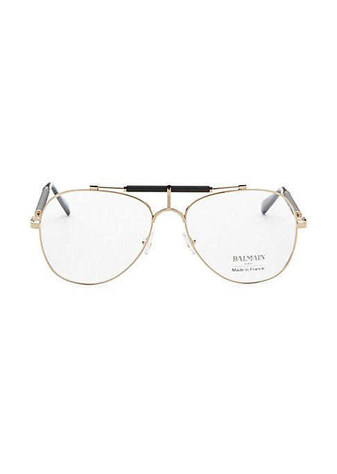 Image of Aviator optical sunglasses with padded nose bridge.59mm lens width; 17mm bridge width; 140mm temple length. Optical lens. Metal. Made in France.