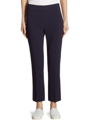 """Image of Crisp streamlined pant cut with a straight silhouette. Banded waist. Concealed side zip. Rise, about 10"""".Inseam, about 29"""".Triacetate/polyester. Dry clean. Made in Italy of imported fabric. Model shown is 5'10"""" (177cm) wearing US size 4."""