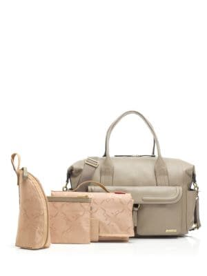 STORKSAK Charlotte Leather Diaper Bag in Clay
