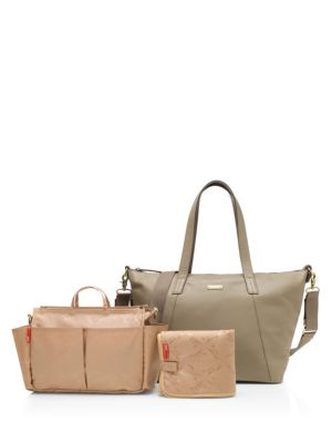 STORKSAK Noa Leather Diaper Bag in Clay