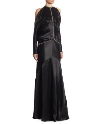 """Image of Backless silk gown with partial sleeve and fishbone chain. Halterneck. Spring ring clasp closure. Lined. About 69"""" from shoulder to hem. Silk. Dry clean. Imported. Model shown is 5'10"""" (177cm) wearing US size 2."""