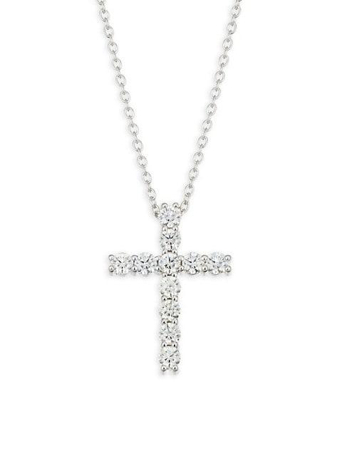18K White Gold & Diamond Cross Pendant Necklace